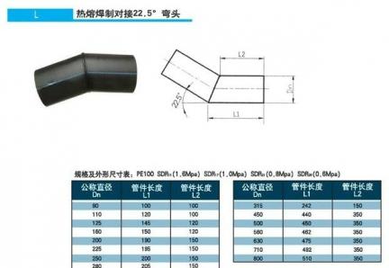热熔焊制22.5°弯头